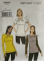 Vogue Easy Sewing Pattern V9205 For A Top. With Dress Label Uncut Size XS,S,M,