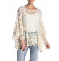 💕NWT Love JOHNNY WAS Embroidered Crochet Mesh PENELOPE Cream Lace Blouse XS  💕
