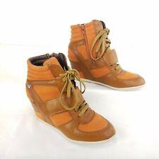 BAKERS Hidden Wedge Hi Top Sneakers Shoes Orange Lace Up Heels Sz 38 US 7.5