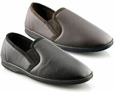 Mens New Boxed Slip On Faux Leather Twin Gusset Slippers Shoes Size 6-14