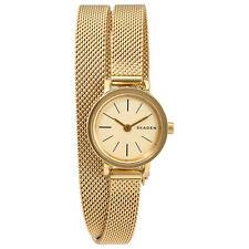 Skagen Hagen Gold Tone Dial Ladies Double Wrap Watch SKW2600