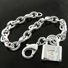 BRACELET BANGLE REAL 925 STERLING SILVER S/F SOLID CHUNKY PADLOCK CHARM DESIGN