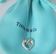 Tiffany & Co Silver 18k Gold Heart Ribbon Bow Pendant Necklace