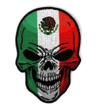 Large Patch Mexican Flag Skull Patch, biker patches, skull patches,