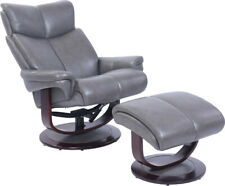 Barcalounger Brynn 15 3287 Pedestal Recliner Chair and Ottoman - Grey Leather