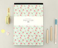 Mint-Flower Write Letter Pad stationary paper 9 Flowers Design Patterns Memopad