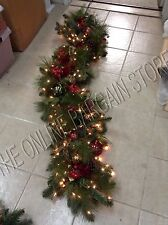 Frontgate Asheville Christmas red ball Swag Mantel Door Garland 6' greenery tree