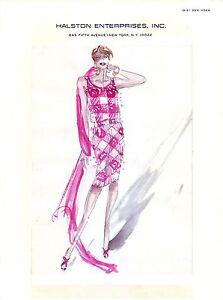 "HALSTON  Original Full Color Fashion Illustration circa 1983 - 8.5"" x 11"""