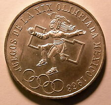 1968 MEXICO SILVER 25 PESOS OLYMPIC COIN ONE YEAR ONLY UNCIRCULATED NICE ONE