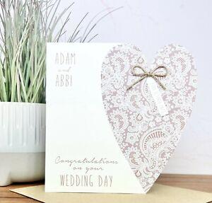 Personalised Handmade Wedding Day Card Congratulations Card