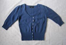 Zara Knit Wool Angora Blend Scoop Neck 3/4 Sleeve Cardigan Sweater in Blue Sz L