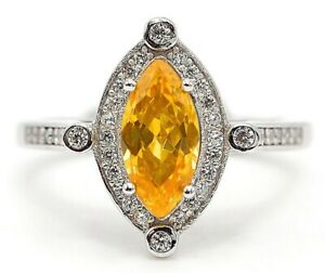 3CT Yellow Sapphire & Topaz 925 Solid Sterling Silver Ring Jewelry Sz 6 SD1