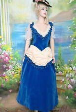 Antique vintage Victorian Dress blue Velvet Bustle back Theater Reenactment M