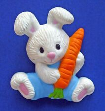 Gibson Pin Easter Vintage Bunny Boy White Rabbit Carrot Holiday Brooch