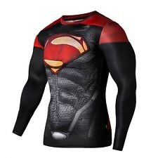 Men's Superman Print T-shirt Compression Sports Gym Fitness Long Sleeve Top(S)