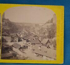 1860s Suisse Stereoview 127 Grand Pont Suspendu A Fribourg Alpine Club W England