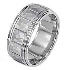 MENS SOLID 14K WHITE GOLD WEDDING BANDS RINGS HAMMERED 7MM