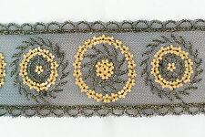 El aclaramiento! lentejuelas de oro Bordado en Negro Net Ajuste - 14 metros
