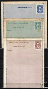Argentine 3 unused Tarjetas Postal Fine/stained