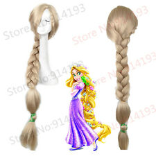 Tangled Rapunzel Wig Long Blonde Wavy Costume Braid Cosplay Wigs For Women