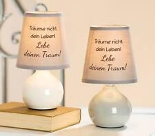 Gilde Tischlampe Nachttischleuchte Keramik Schirm 34598 13x23cm Träume  grau