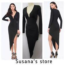 NWT BEBE BLAZE ASYMMETRIC DRESS SIZE S Showstopping LITTLE BLACK dress!! $160