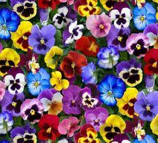 ~1/2 Yard ~ Lovely Pansies Packed Flowers Elizabeth's Studio 100% Cotton Fabric
