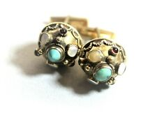 Striking AUSTRO-HUNGARIAN Jeweled Buttons Conversion CUFF LINKS c. 1850's - 1900