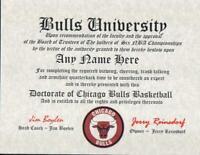 Chicago Bulls  ~ CERTIFICATE ~ DIPLOMA ~  MAN CAVE ~BULLS FAN~ NBA