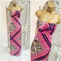JANE NORMAN 💋 UK 10 Pink Mixed Print Strapless Satin Maxi Dress ~Free P&P ~