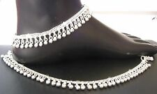 "Anklet Pair Indian Payal Size 9.5"" Handmade 925 Sterling Silver Unique Design"