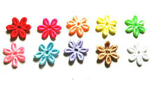 100 pcs Cute small satin flower Padded Appliques mix colors size 17 mm