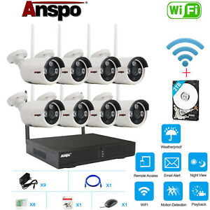 Anspo 8CH 1080P WIFI NVR Wireless Security IP Camera System Outdoor Surveillance