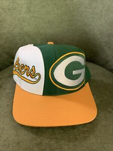 Vtg 90s Green Bay Packers Logo 7 Athletic Packers In Gold Snapback Hat