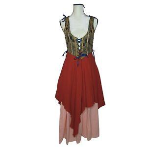 Renaissance 3 Piece Costume Cosplay Ren Faire Halloween Lace Up Tie Skirt