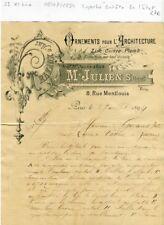 Paris XI ème 8 Rue Montlouis - Superbe Entête Architecture Travaux d'Art de 1894