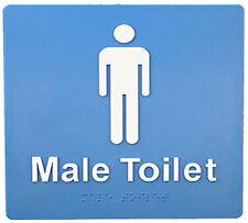 Male Braille Toilet Sign SV01E BCA Code Australian Compliance-White on Blue