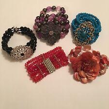 Lot Of 5 Costume Jewelry Statement Bracelets Stretchy