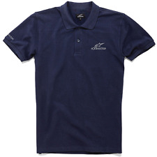 Genuine Alpinestars Racing Motorcycle Streetwear Navy Blue Men Polo Tee T-Shirt