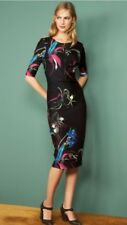 Bnwt🌹Next🌹Size 16 P Uk Black Floral Zip Detail Bodycon Dress Short Sleeve New