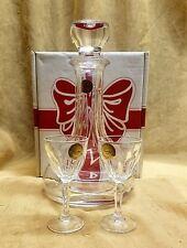 NIB Vintage Paul Sebastian 3 Piece Fine Lead Crystal Liqueur Wine Decanter Set