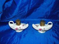 2 Vintage Aladdins Lamp Oil Kerosene  Miniature 12992 Japan Rose Aladdin