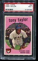 1959 Topps Baseball #62 TONY TAYLOR Chicago Cubs PSA 7 NM