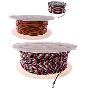 PVC 3-way Servo Wire Cable 20 22 26 28 32 AWG Flat/Twisted JR Hitec Futaba BULK