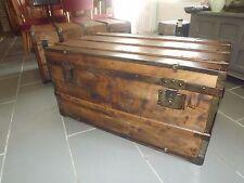 Ancienne grande malle de voyage restauré bois vintage  rangement