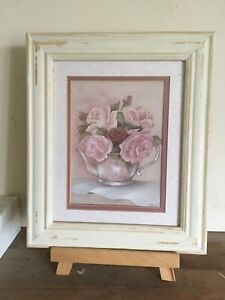 """Pretty Shabby Chic Style Floral Teapot Pic In Rustic Cream Frame 12x10"""""""