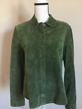 CO & EDDY 100% Suede Top Olive GRN Button Front Round Hem Partial Lining Size XL