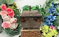 "Decorative Covered Metal Box with Handles Pineapple Design India 8 3/4"" Tall X 9"