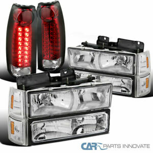 For 94-98 GMC C/K 1500 Clear Headlights+Bumper Signal Lamps+Red LED Tail Lamps