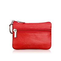Ladies Kids Men Genuine Real Leather Small Coin Card Key Ring Wallet Pouch Purse